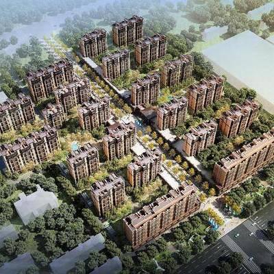 小区鸟瞰建筑3d模型, 鸟瞰建筑, 小区建筑, 鸟瞰, 小区, 现代建筑, 商品楼