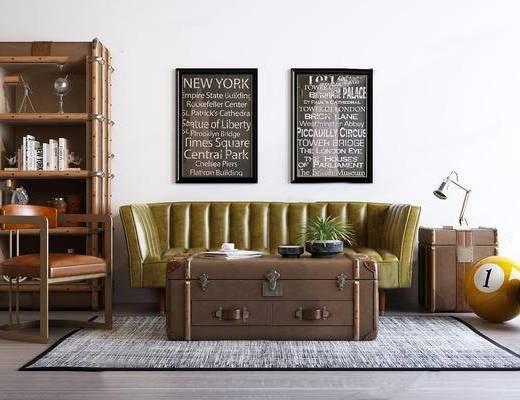 沙发组合, 置物柜, 装饰画, 边几, 单椅, 茶几