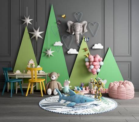 玩具, 气球, 沙发, 云朵, 装饰品, 摆件组合