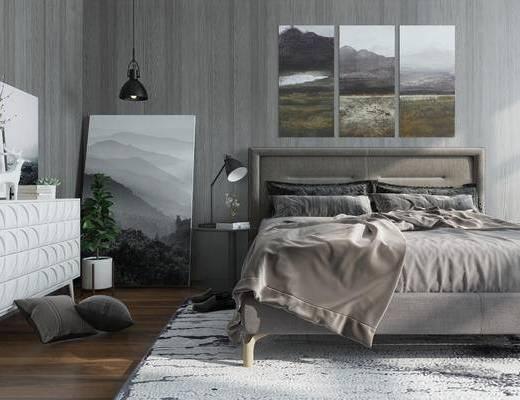 北欧卧室, 卧室, 床, 北欧, 边柜, 陈设品, 装饰画, 挂画, 吊灯, 台灯, 床头柜, 抱枕, 摆件