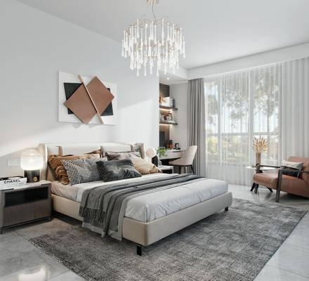 现代简约, 卧室, 双人床, 床头柜, 地毯, 吊灯, 挂画