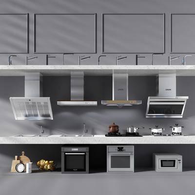抽油烟机, 烤箱, 微波炉, 餐具, 厨具, 家电