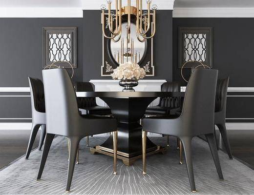 桌椅组合, 餐桌, 餐椅, 圆桌, 吊灯, 单人椅, 花瓶花卉, 现代
