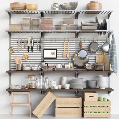厨房厨架, 厨具, 餐具厨具, 食物组合, 现代