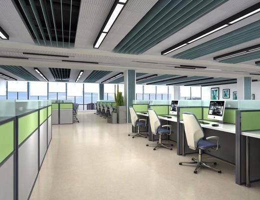 办公区, 办公室, 现代办公区, 办公桌椅