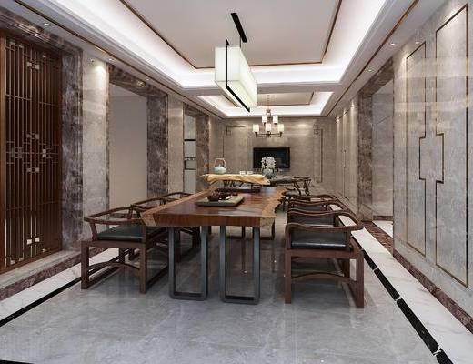 新中式, 模型征集, 客厅, 餐厅, 禅意, 餐桌椅, 吊灯, 餐具, 沙发, 茶几, 鱼池, 假山