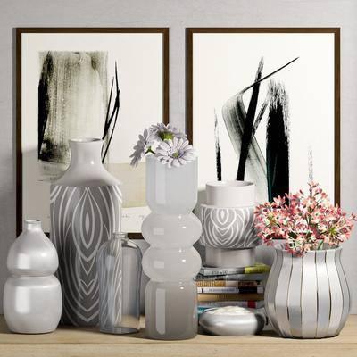 花瓶, 花卉, 玻璃瓶, 挂画, 瓷器, 书籍, 摆件, 现代