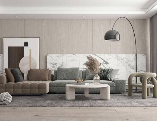 多人沙发, 休闲椅, 挂画, 落地灯, 摆件
