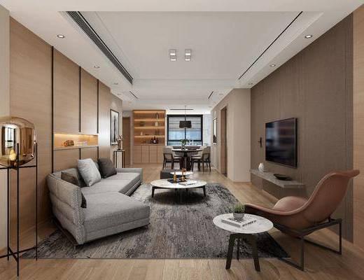 客厅, 餐厅, 多人沙发, 异形沙发, 茶几, 落地灯, 单人椅, 餐桌, 餐椅, 吊灯, 现代