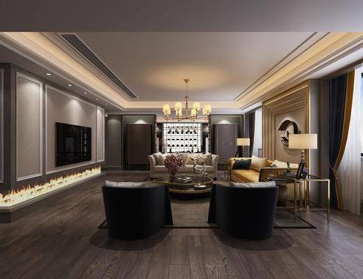 会客厅, 茶室, 多人沙发, 边几, 台灯, 茶几, 单人沙发, 双人沙发, 墙饰, 装饰架, 茶桌, 单人椅, 案几, 吊灯, 茶壶, 摆件, 装饰品, 陈设品, 新中式