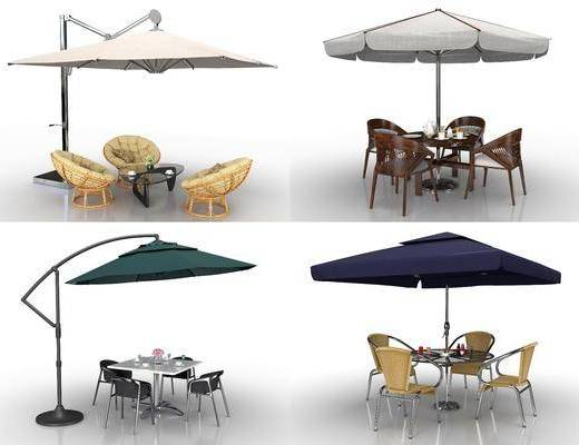 户外遮阳伞, 休闲桌椅, 藤椅帐篷, 帐篷组合, 现代