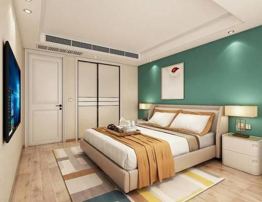北欧, 卧室, 双人床, 挂画, 床头柜