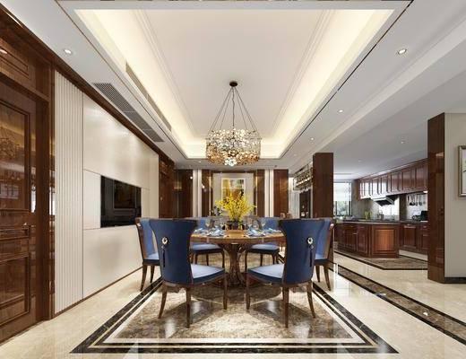 新中式别墅餐厅厨房组合, 新中式, 餐厅, 餐桌椅, 椅子, 金属吊灯
