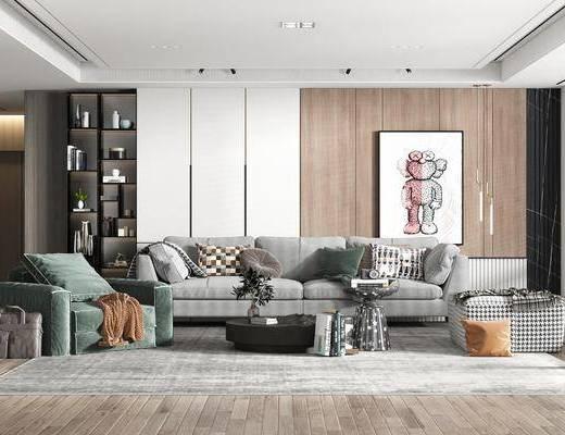 沙发组合, 抱枕, 茶几, 挂画, 吊灯