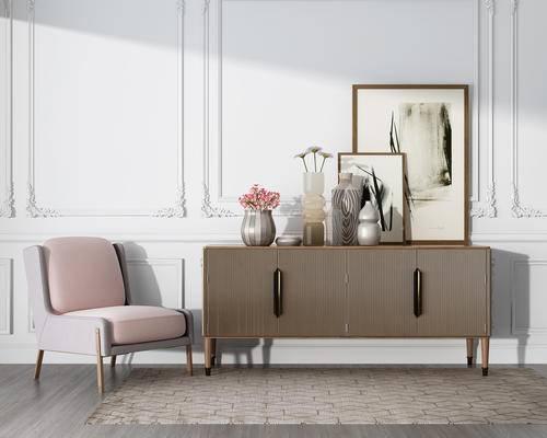 边柜, 玄关柜, 陈设品, 单人沙发, 装饰画, 单椅