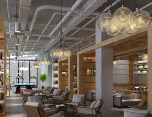 咖啡厅, 咖啡馆, 吊灯, 休闲桌椅, 椅子, 装饰柜