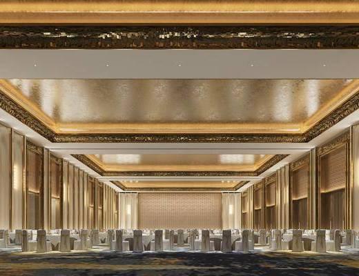 宴会厅, 餐桌, 壁灯, 大堂