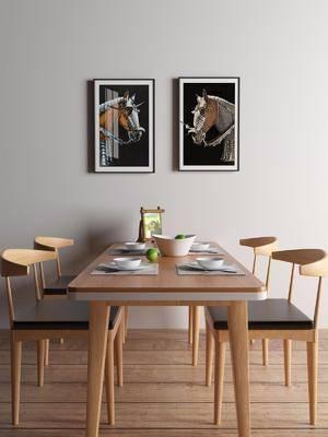 桌椅组合, 餐桌, 餐椅, 单人椅, 餐具, 装饰画, 挂画, 现代