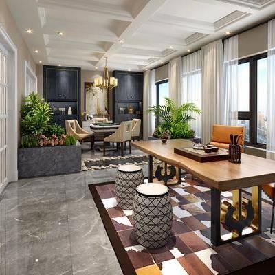 美式茶室棋牌室, 茶室, 沙发, 植物, 椅子