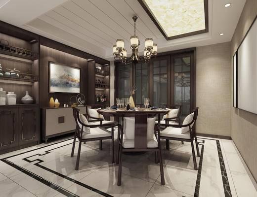 中式餐厅, 餐厅, 圆桌, 餐桌, 椅子, 装饰画, 酒柜, 装饰柜, 中式吊灯