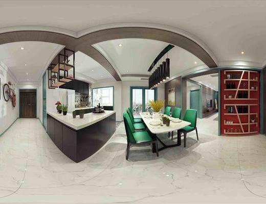 餐厅, 厨房, 厨具, 餐桌椅, 吊灯, 置物架