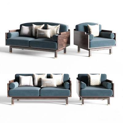 新中式, 沙发, 组合