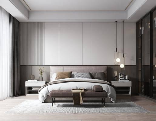 双人床, 床具组合, 床头柜, 吊灯, 衣柜, 床尾踏