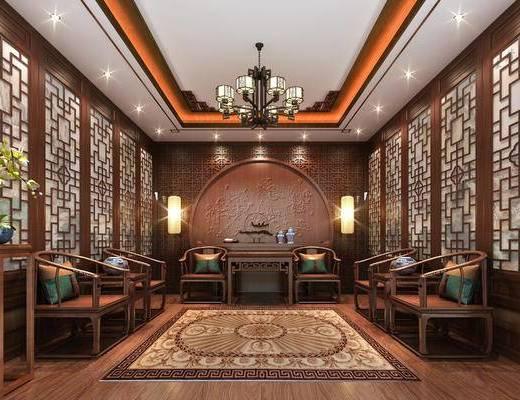 会客室, 休闲椅, 中式, 背景墙, 灯具