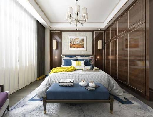 臥室, 床具組合, 壁燈, 擺件組合, 掛畫, 新中式