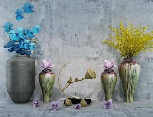 干花装饰, 摆件组合, 花瓶花卉, 中式