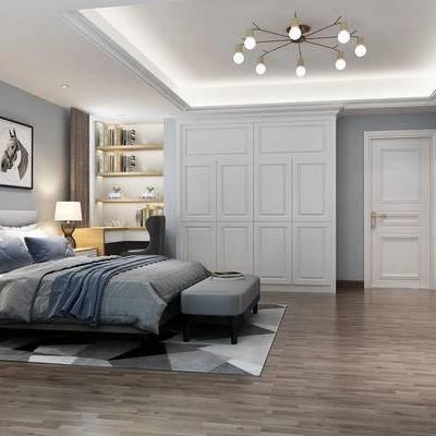 北欧卧室, 现代卧室, 布艺床, 床头柜, 衣柜, 北欧装饰画