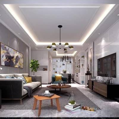 客厅, 多人沙发, 单人沙发, 布艺沙发, 边柜, 装饰柜, 茶几, 装饰品, 餐桌, 餐椅, 摆件, 装饰画, 吊灯, 壁灯, 现代