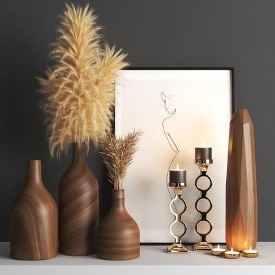 装饰品, 花瓶, 烛台, 干花