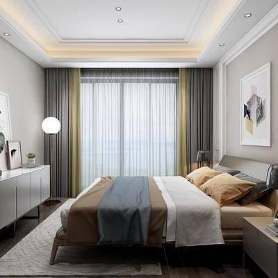 现代卧室, 现代, 卧室, 床, 床头柜, 台灯, 边柜, 装饰画