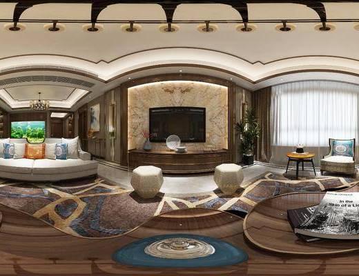 客厅, 餐厅, 新中式客餐厅, 家装全景, 沙发组合, 沙发茶几组合, 边柜组合