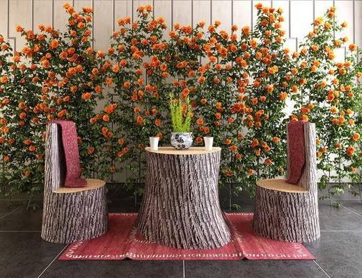 现代, 木桩, 桌椅