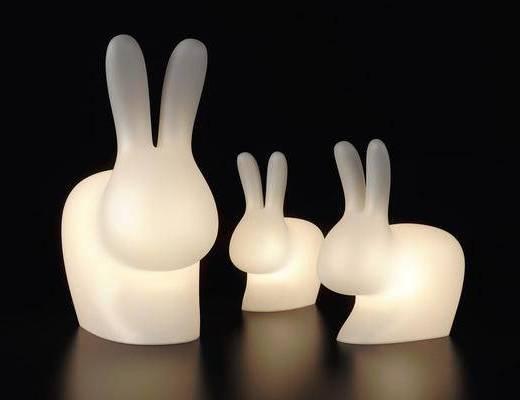 兔子臺燈, 擺件組合, 現代