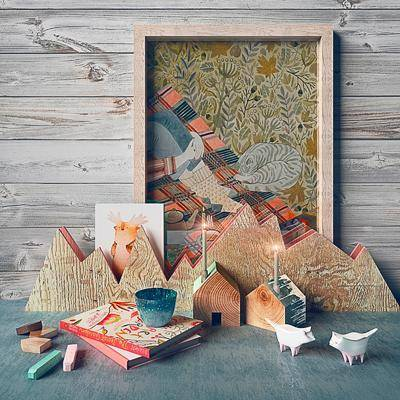 书籍, 茶杯, 杯子, 挂画, 装饰画, 木头, 玩具房, 现代