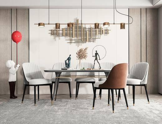 现代, 餐厅, 餐桌椅, 吊灯, 摆件