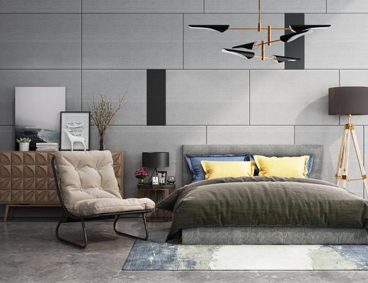 现代, 主卧, 双人床, 休闲椅, 灯具