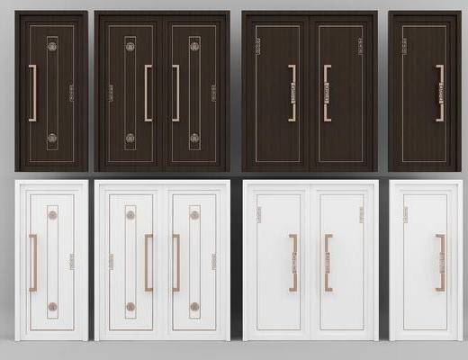 新中式, 中式, 现代, 门, 门构件, 平开门, 双开门