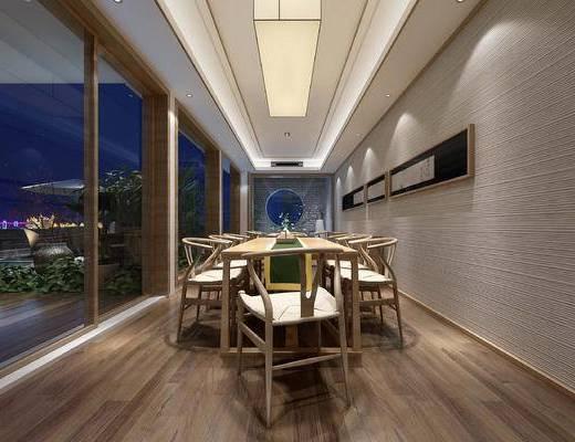 茶室, 桌椅, 椅子, 桌子, 中式, 茶具
