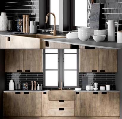 现代厨房橱柜窗户厨具餐具用品组合, 现代厨房, 餐具, 洗菜盆, 现代