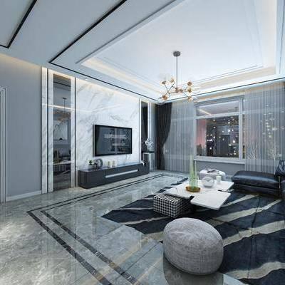 现代客厅, 客餐厅, 现代沙发, 多人沙发, 沙发组合