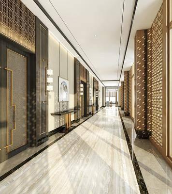 走廊过道, 装饰画, 挂画, 壁灯, 案几, 新中式