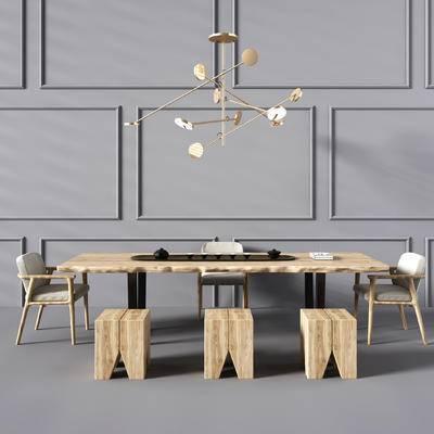 新中式茶桌, 茶桌, 椅子, 茶具, 吊灯
