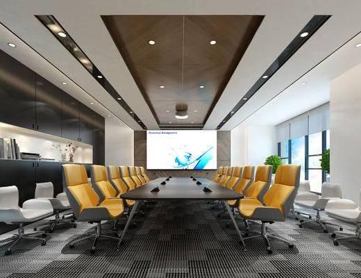 办公, 会议室, 现代, 会议桌, 办公椅, 椅子, 休闲椅, 投影