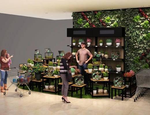 花卉, 展柜, 鲜花, 展架, 货架, 超市, 商场, 植物墙, 现代