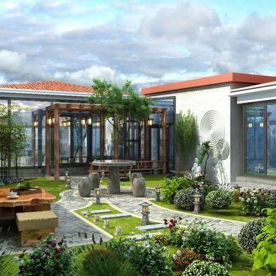 花园庭院, 竹子, 草坪灯, 走廊长廊, 茶台花草, 树木, 植物, 茶桌, 单人椅, 中式