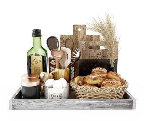 现代厨房用品摆件, 面包, 食物